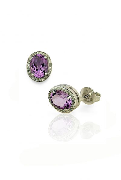 18kt white gold earrings with diamonds and amethyst AMETISTA