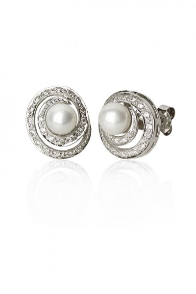 White pearl earrings set in 750 ‰ white gold and diamonds PERLE