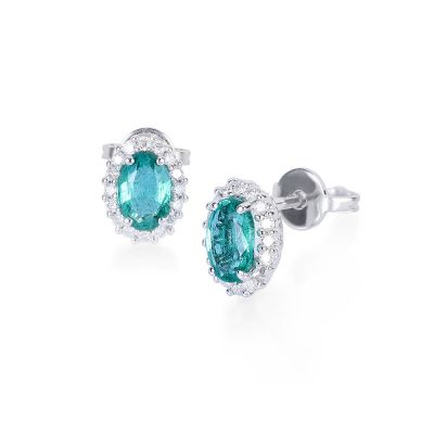 18kt white gold earrings with diamonds ct. 0.23 and emeralds ct. 0.93 SMERALDO